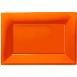 Orange Serving Plastic Platters - 23cm x 32cm