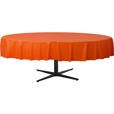 Orange Round Tablecover - Plastic - 2.1m