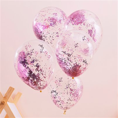 "Pamper Party Pink Glitter Balloons - 12"" Latex"