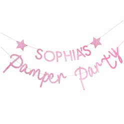 Pamper Party Pink Glitter Customisable Bunting