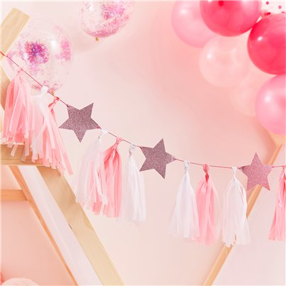 Pamper Party Pink Glitter Star Tassel Garland - 2m