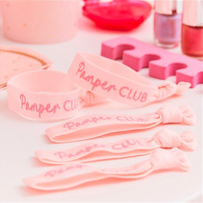Pamper Party Pink GlitterWrist Bands