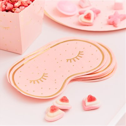 Pamper Party Pink Eye Mask Shaped Napkins - 16cm