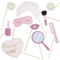 Pamper Party Pink Glitter Photobooth Props