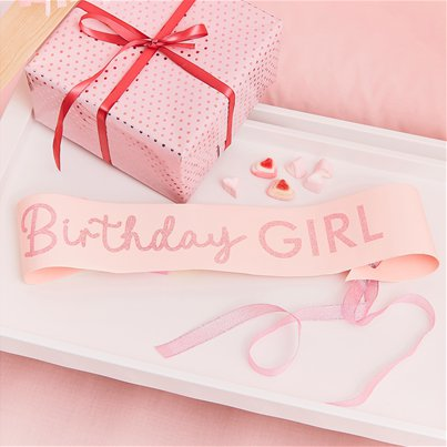 Pamper Party Pink Birthday Girl Sash