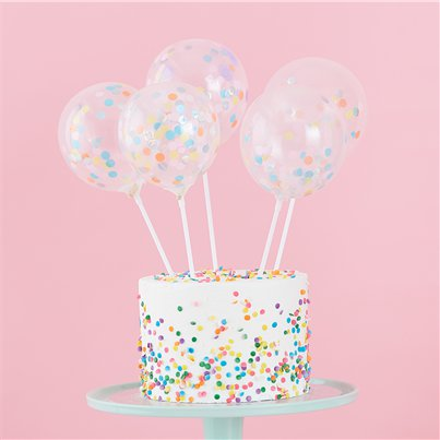 "Pastel Confetti Mini Balloon Cake Toppers - 5"" Latex"