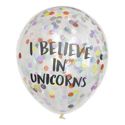 Pastel Confetti 'I Believe in Unicorns' Balloons - 12