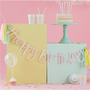 Pearlescent Happy Birthday Bunting With Pastel Tassels - 2m