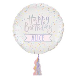 Iridescent Pastel Personalised Happy Birthday Foil Balloon - 24""