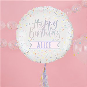 Iridescent Pastel Personalised Happy Birthday Foil Balloon - 24