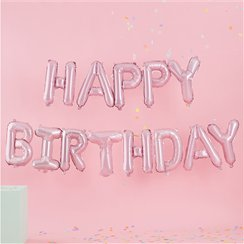 Pastel Pink 'Happy Birthday' Balloon Bunting - 4m