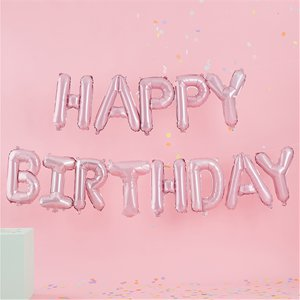 Pink Birthday Balloon Bunting (Pastel Party Supplies)