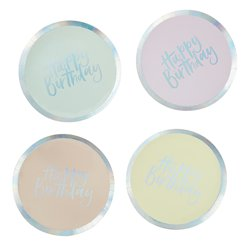 Iridescent Pastel Happy Birthday Paper Plates - 25.5cm