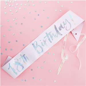 Iridescent Pastel '18th Birthday' Sash