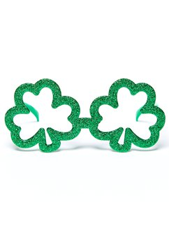 St Patrick's Day Shamrock Glitter Glasses