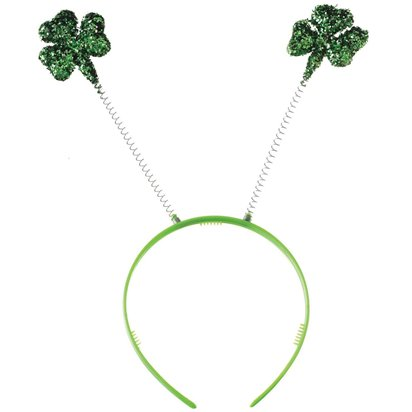 Glitter Shamrock Irish Leprechaun Headband - St Patrick's Day Boppers  front