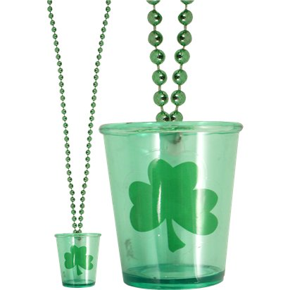 St Patrick's Day Shot Glass Necklace - 80cm - St. Pat's Accessories front