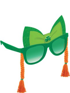 St Patrick's Day Novelty Glasses with Braids - 15cm