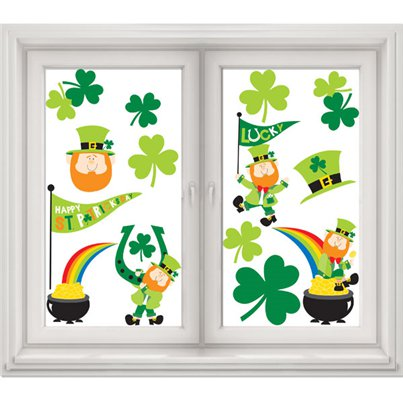 St Patrick's Day Window Clings