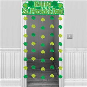 St Patrick's Day Shamrock Door Curtain - 1.9m