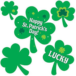 'Happy St Patrick's Day' Shamrock Cutouts - Various Sizes
