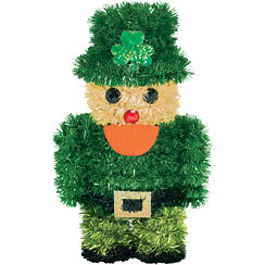 Tinsel Leprechaun Decoration - 16cm