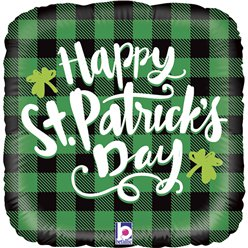 "Green Plaid St. Patricks Balloon - 18"" Foil"