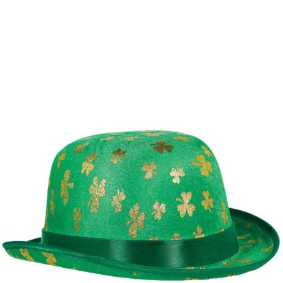 St Patrick's Gold Shamrock Irish Leprechaun Derby Hat - St Patrick's Day Hat - Adult One Size front