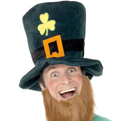 St Patrick's Day Leprechaun Foam Hat with Beard - Irish Fancy Dress Accessories front