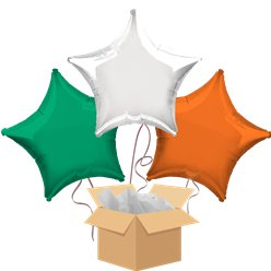 Green, White & Orange Star Mix Balloon Bouquet - Delivered Inflated