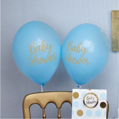 "Pattern Works Blue Baby Shower Balloons - 12"" Latex"