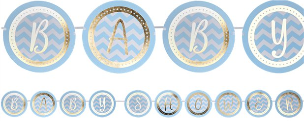 Pattern Works Blue Baby Shower Bunting - 2.5m