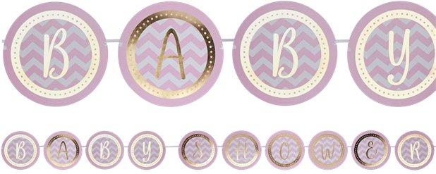 Pattern Works Pink Baby Shower Bunting - 2.5m