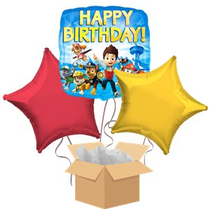 Paw Patrol Happy Birthday Balloon Bouquet - Delivered Inflated