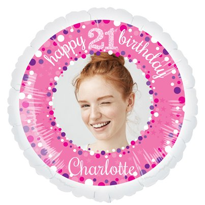 "Pink Celebration 21st Personalised Balloon - 22.5""Foil"