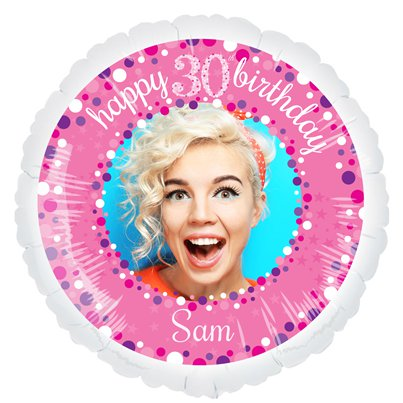 Pink Celebration 30th Personalised Balloon - 22.5 Foil