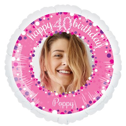 Pink Celebration 40th Personalised Balloon - 22.5 Foil