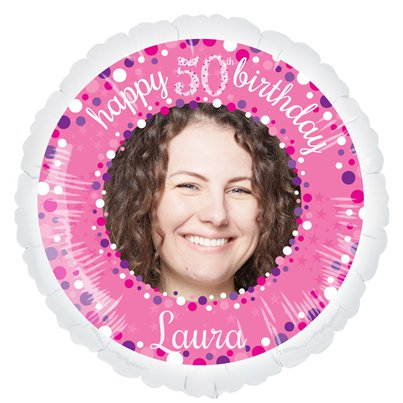"Pink Celebration 50th Personalised Balloon - 22.5"" Foil"