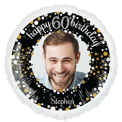 Sparkling Celebration 60th Personalised Balloons - 22.5 Foil