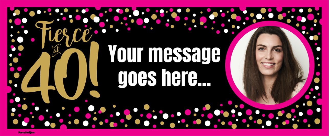 40th Pink & Gold Custom Banner 6ft. x 2.5ft.