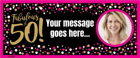 50th Pink & Gold Custom Banner 6ft. x 2.5ft.