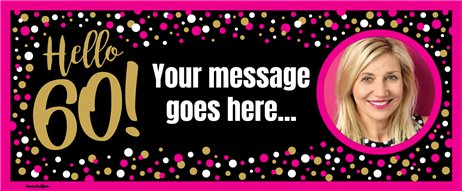 60th Pink & Gold Custom Banner 6ft. x 2.5ft.