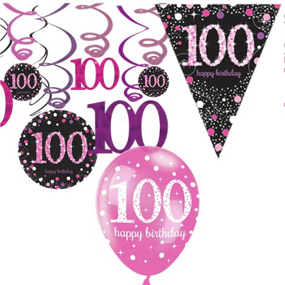 Feesten Speciale Gelegenheden 100th Birthday Spray Centrepiece Table Decoration Black Pink Purple Age 100 Part