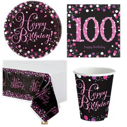 Pink Celebration 100th Birthday Party Pack - Value Pack For 8