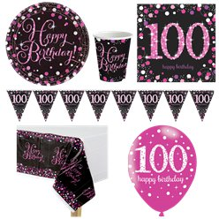 Pink Celebration 100th Birthday Party Pack - Deluxe Pack for 8
