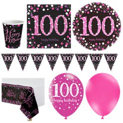 Pink Celebration 100th Birthday Party Pack - Deluxe Pack for 16