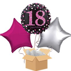 Happy 18th Birthday Pink Balloon Bouquet - Delivered Inflated