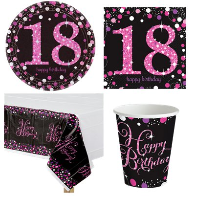 Pink Celebration 18th Birthday Party Pack - Value Pack For 8