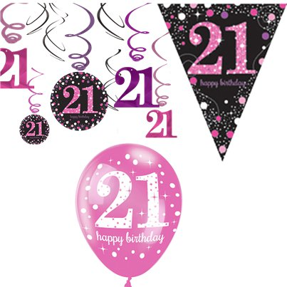 21st Pink Celebration Decorating Kit - Value