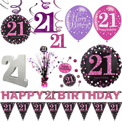 21st Pink Celebration Decorating Kit - Premium